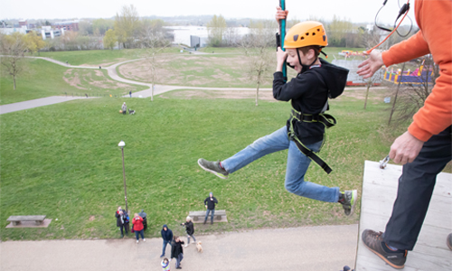 Image of a young boy on the Quick Jump course at Sky Reach